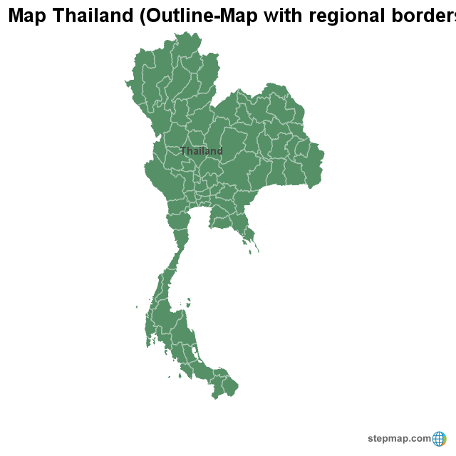 Map Thailand  Outline-Map with regional borders Thailand Map Outline