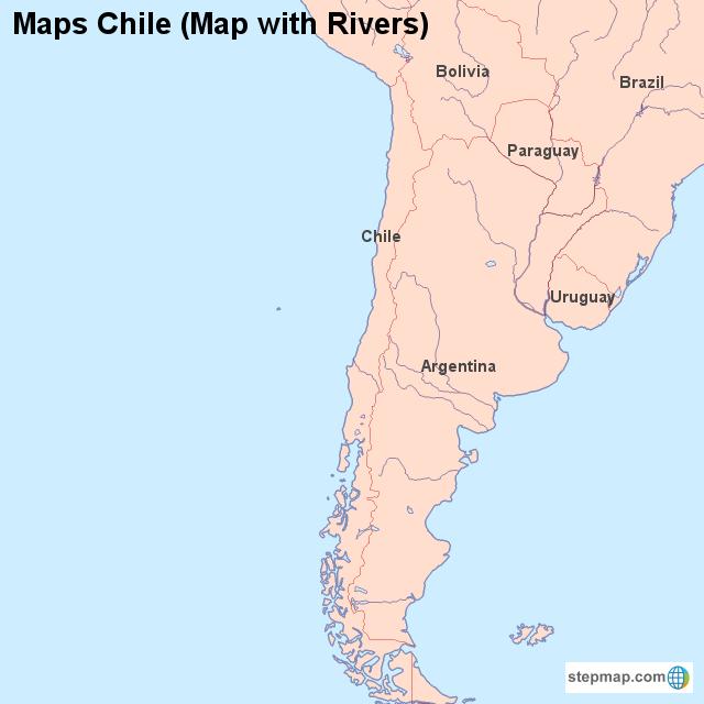 Maps Chile (Map with Rivers) von countrymap - Landkarte für Chile on
