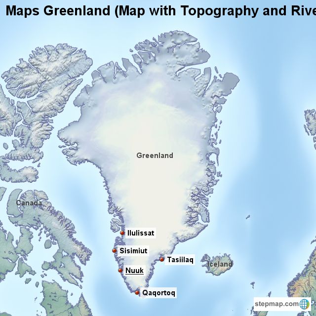 Maps Greenland (Map with Topography and Rivers) von countrymap ... on
