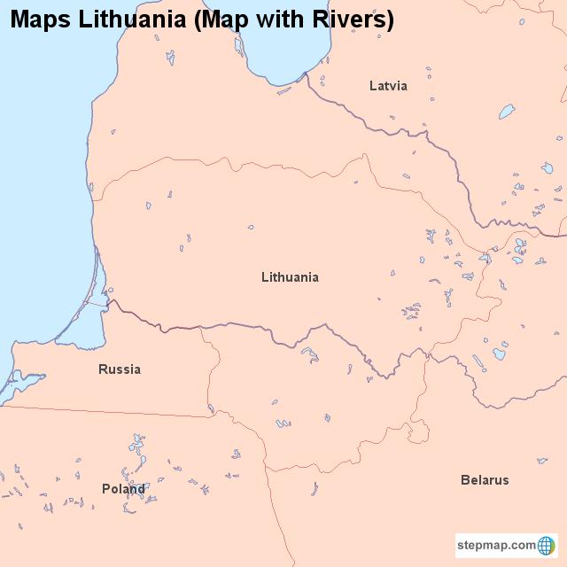 Maps Lithuania (Map with Rivers) von countrymap - Landkarte für Litauen