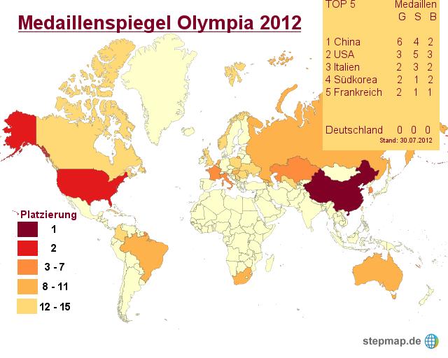 Medaillenspiegel olympia 2012 von sport landkarte f r for Spiegel olympia