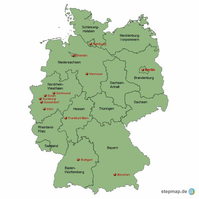 metropolen der bundesrepublik deutschland von whattewer landkarte f r deutschland alle. Black Bedroom Furniture Sets. Home Design Ideas
