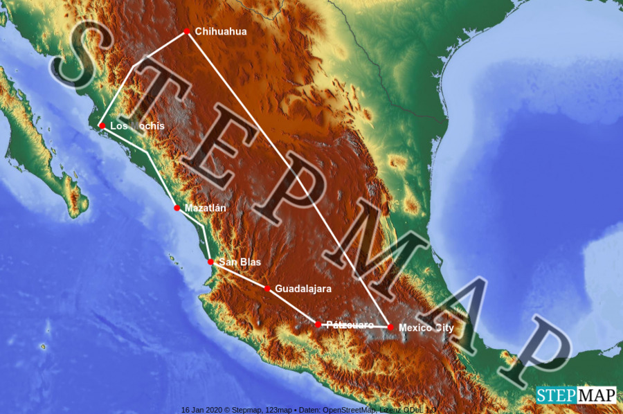 Landkarte: Mexiko Nord