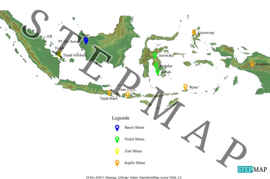 Landkarte: Minen Indonesien