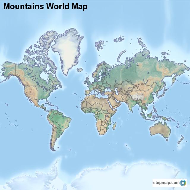 Mountains World Map von countrymap - Landkarte für die Welt