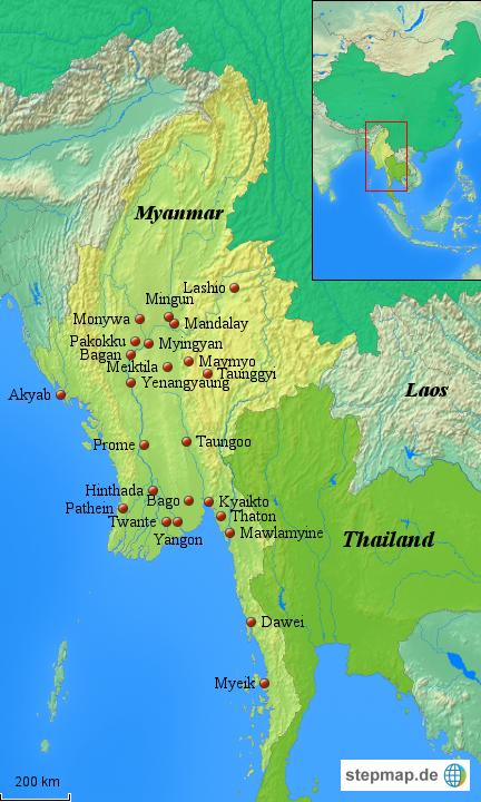 Karte Myanmar.Myanmar Karte Von Asienteam Landkarte Für Burma