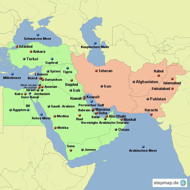 karte mittlerer osten Naher und Mittlerer Osten von maraike   Landkarte für Asien karte mittlerer osten