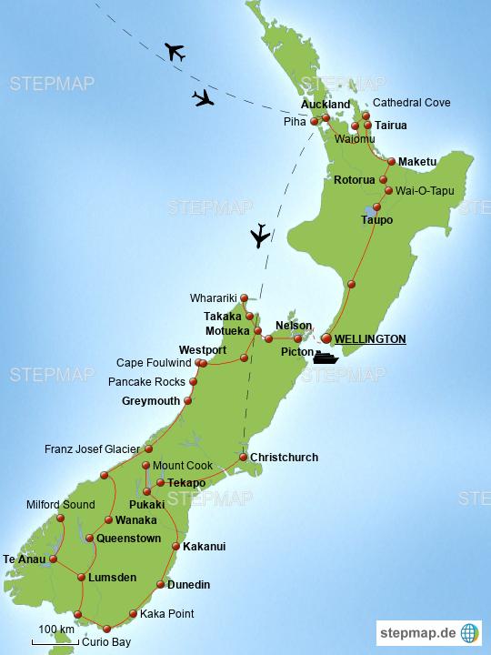 Neuseeland Karte Fur Ihre Reise Nach Neuseeland Erlebe