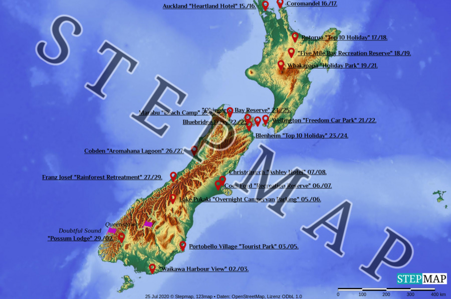 Landkarte: Neuseeland 2020