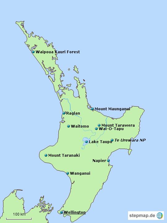 Neuseeland Nordinsel Karte.Neuseeland Nordinsel Poi Von Sibylle S Landkarte Für Neuseeland