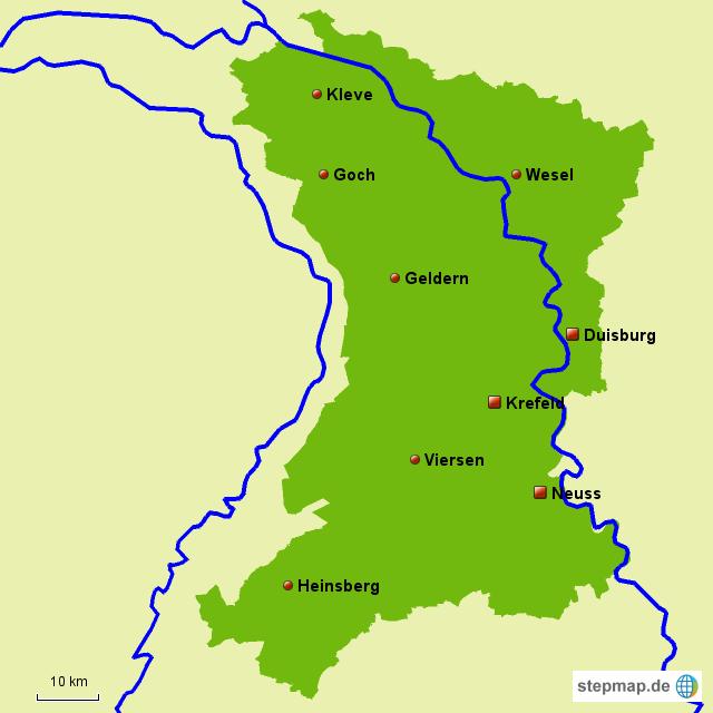 niederrhein karte Niederrhein von Niederrheinwetter   Landkarte für Nordrhein Westfalen