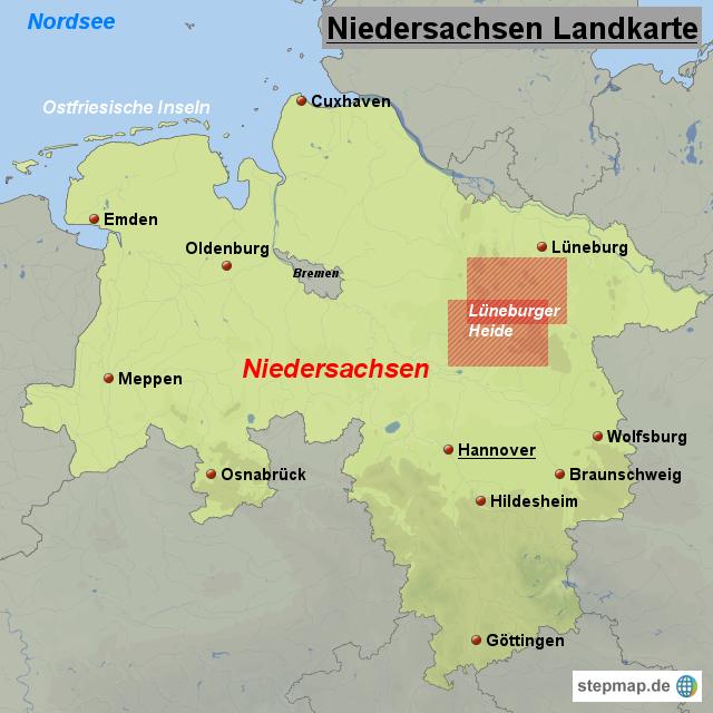 Karte Nordseeküste Niedersachsen.Niedersachsen Landkarte Von Landkarten Landkarte Für Niedersachsen
