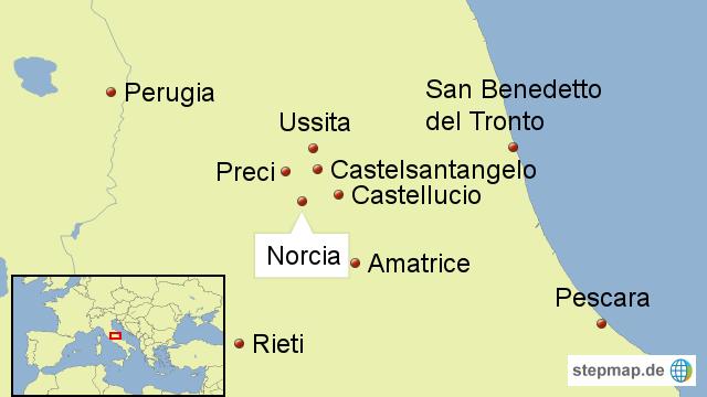 landkarte amatrice italien Norcia, Amatrice von Journal21   Landkarte für Italien