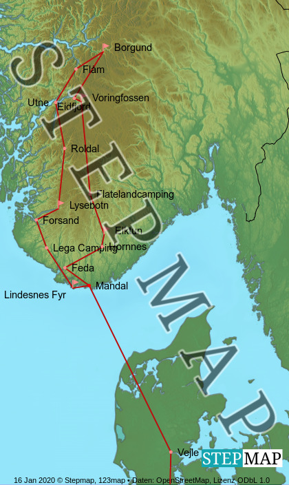 Landkarte: Norge