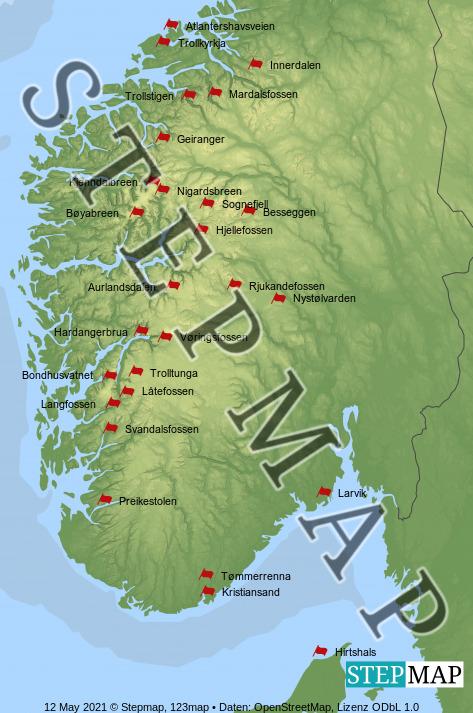 Landkarte: Norwegen 2021