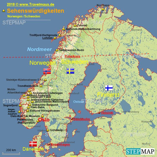 norwegen sehensw rdigkeiten von travelmaus landkarte f r skandinavien. Black Bedroom Furniture Sets. Home Design Ideas