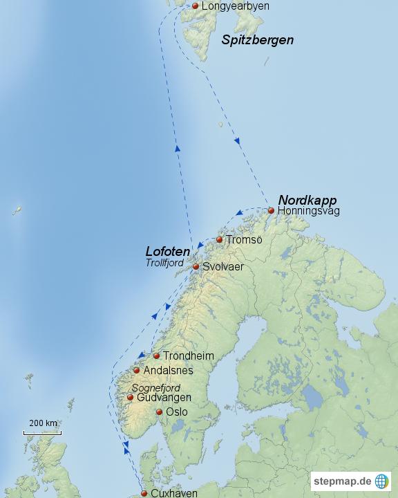 spitzbergen karte Landkarte Spitzbergen Norwegen | Kleve Landkarte