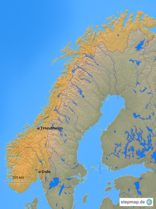 Briefe Von Norwegen Nach Deutschland : Norwegen der weg nach norden von skasom landkarte für