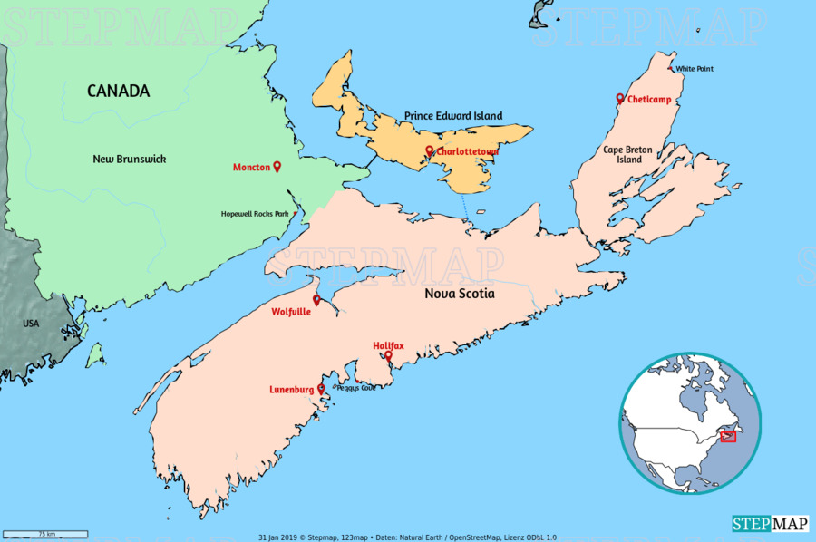 Landkarte: Nova Scotia