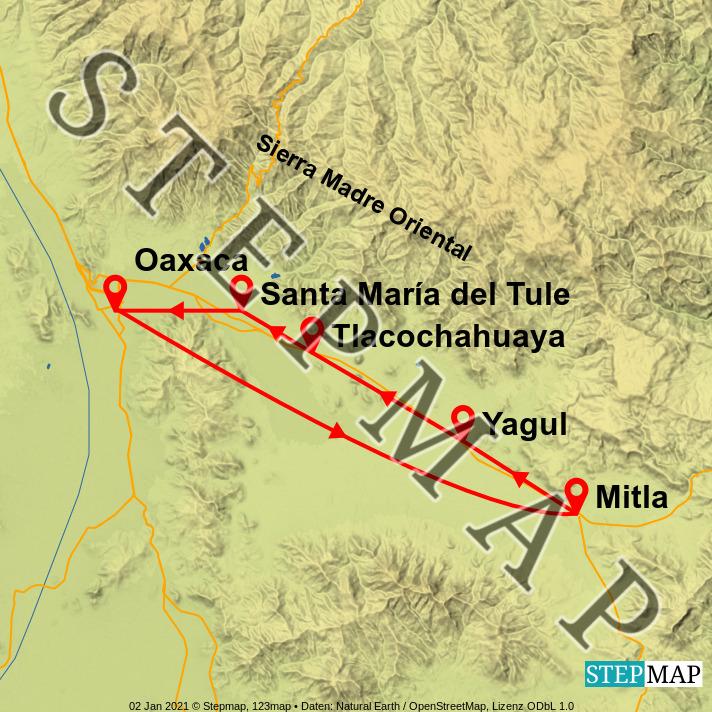 Landkarte: Oaxaca und Umgebung