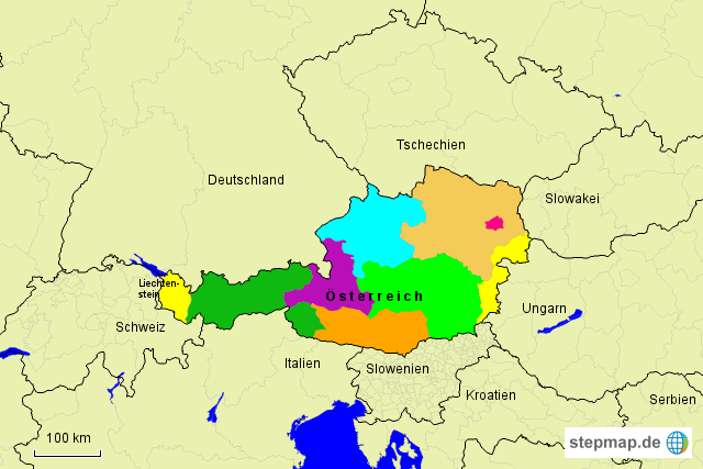 Bundesländer Karte Ohne Namen.Stepmap österreich Bundesländer Ohne Namen Landkarte Für österreich