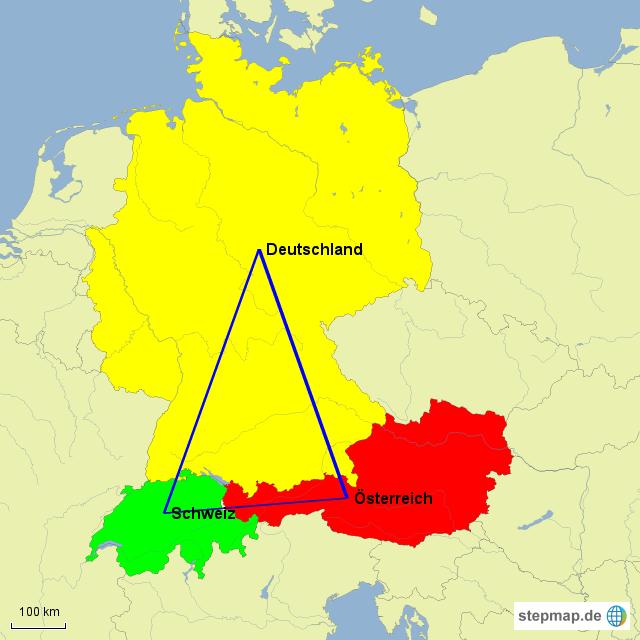 Karte Süddeutschland österreich Schweiz.Stepmap österreich Deutschland Und Die Schweiz Landkarte Für