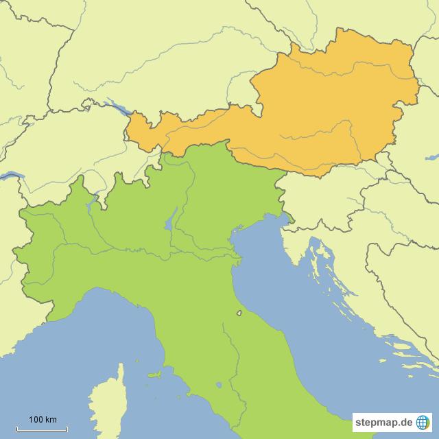 deutschland österreich italien karte StepMap   Österreich, Italien, Umriss   Landkarte für Deutschland
