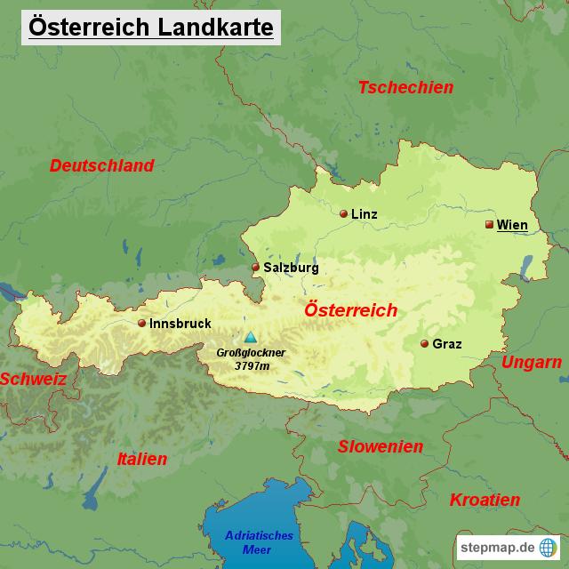 österreich landkarte StepMap   Österreich Landkarte   Landkarte für Österreich österreich landkarte