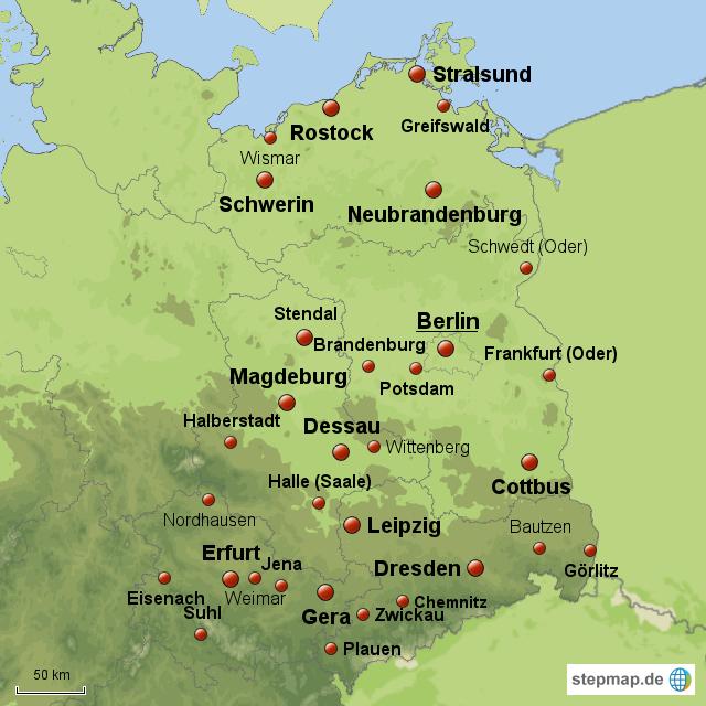 Karte Ostdeutschland.Ostdeutsche Städte Nach Ihrer Regionalen Bedeutung Von Maxi76
