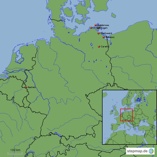 Usedom Karte Deutschland.Ostseeexkursion Aachen Carwitz Zingst Rügen Hiddensee