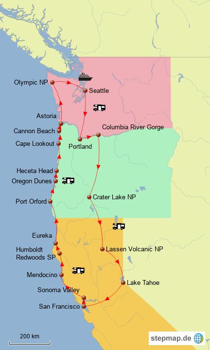 Pacific Northwest von susanne_schrader - Landkarte für USA on