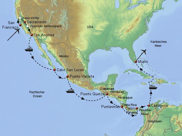 panamakanal karte Panamakanal & Westküste von MillerReisen   Landkarte für Mittelamerika