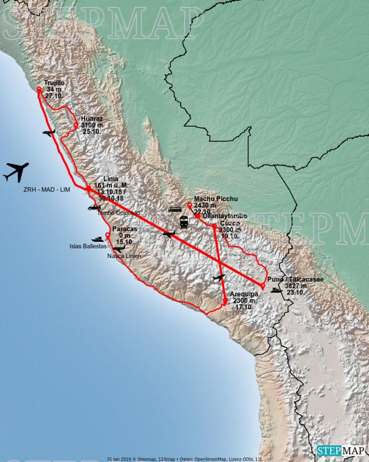 Landkarte: Peru Oktober 2018