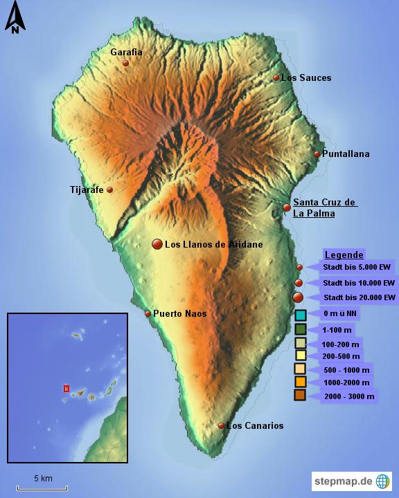 karte la palma StepMap   physische Karte La Palma   Landkarte für Spanien karte la palma