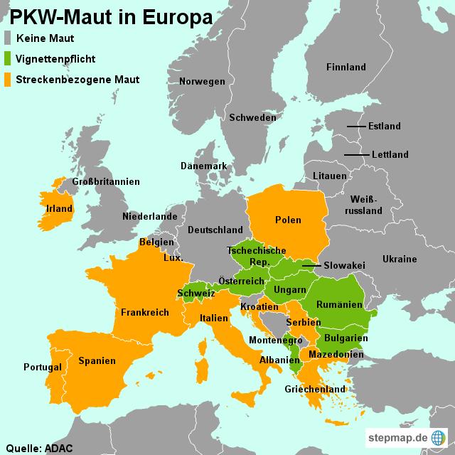 pkw maut in europa von madsack online landkarte f r europa. Black Bedroom Furniture Sets. Home Design Ideas