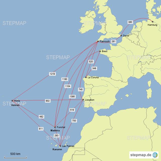 Kanaren Karte Europa.Planungskarte Westausgang Armelkanal Kanaren Von Coya
