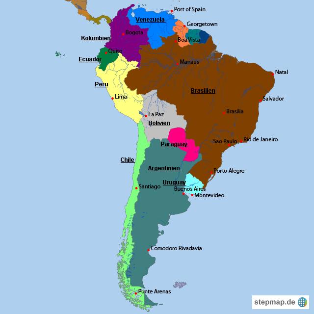 Physische Karte Lateinamerika.Politische Karte Sudamerika My Blog