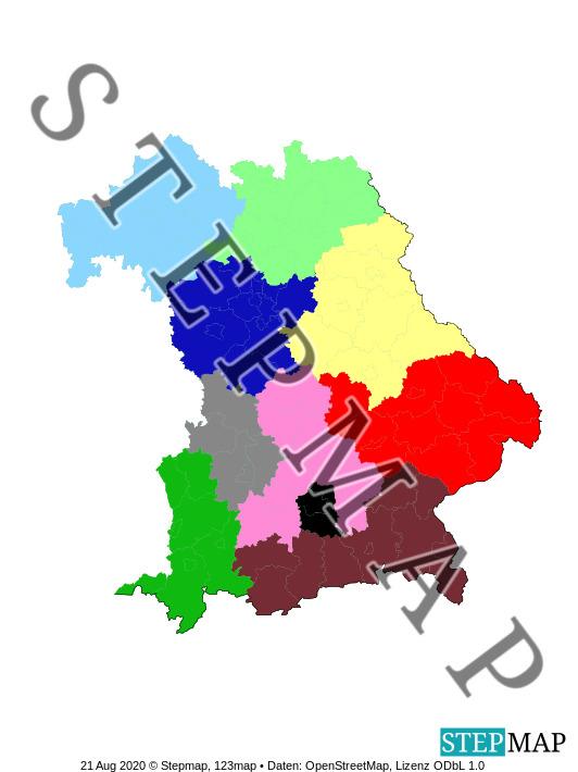 Landkarte: Polizeipräsidien in Bayern