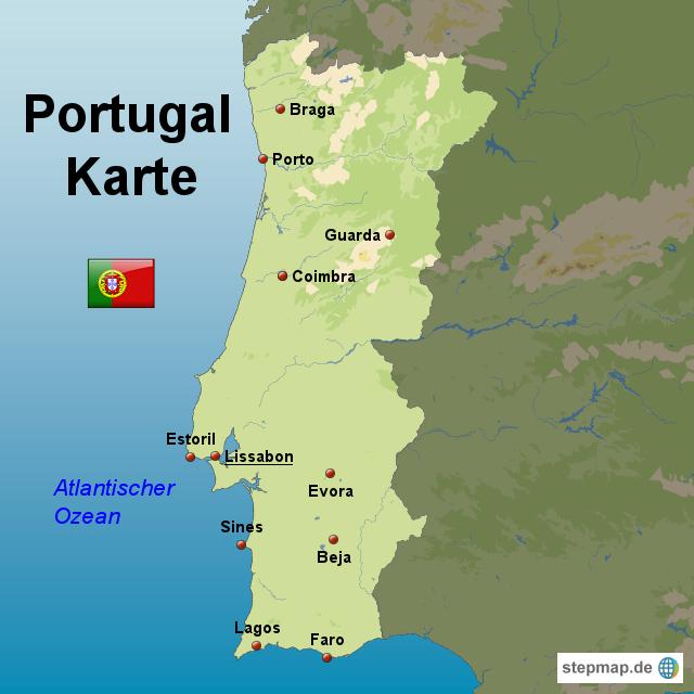 portugal karte von karten landkarte f r portugal. Black Bedroom Furniture Sets. Home Design Ideas