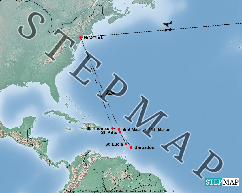 Landkarte: Queen Mary2