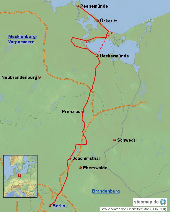 Radweg Berlin Usedom Karte.Radweg Berlin Usedom Von Daschke Landkarte Für Ostdeutschland