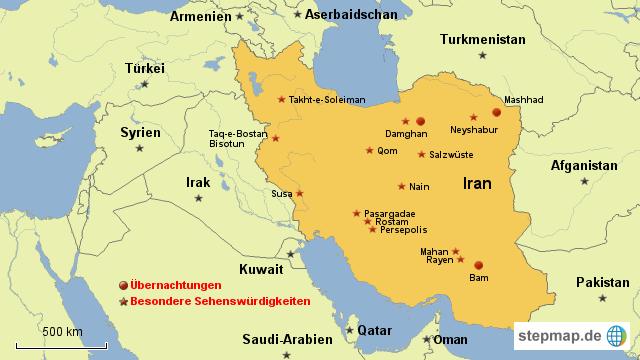 Reiseroute Iran 2016