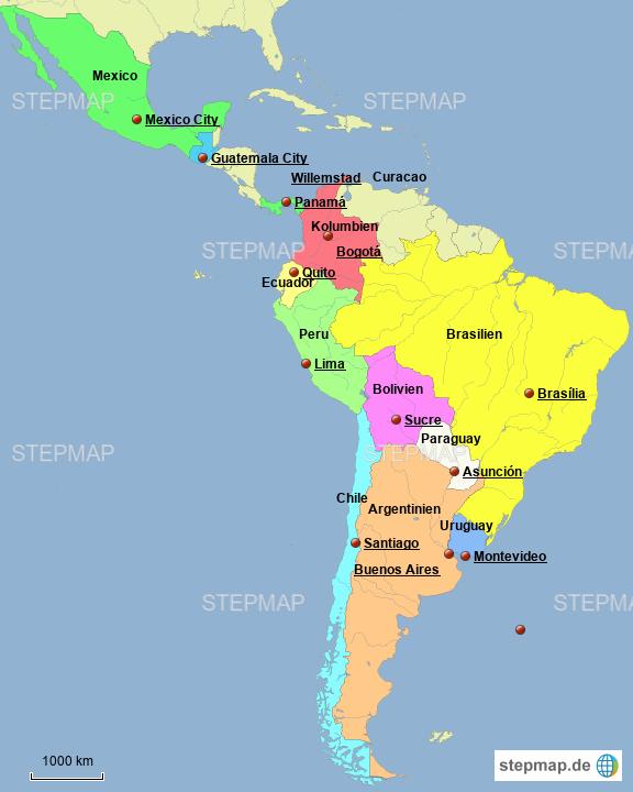 Reiseroute Lateinamerika Von W Roemer Landkarte Fur Sudamerika