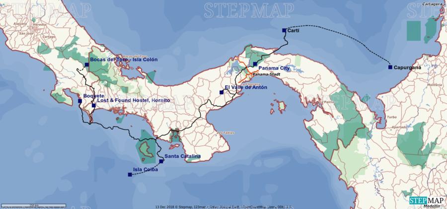 Landkarte: Reiseroute Panama