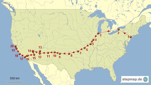 reiseroute route 66 von tompe landkarte f r nordamerika. Black Bedroom Furniture Sets. Home Design Ideas