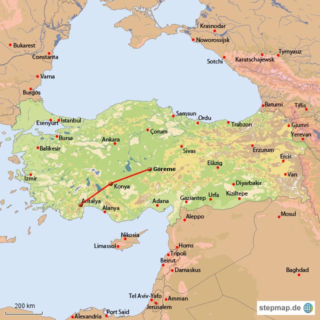 Karte Türkei Kappadokien.Reiseverlauf Kappadokien Von Heschi Landkarte Für Die Türkei