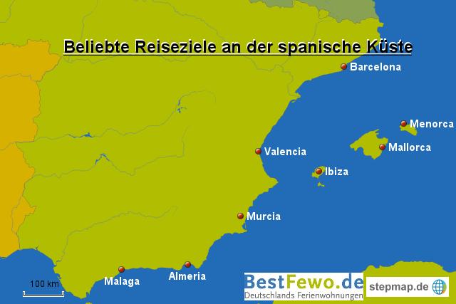 Spanien Karte Küsten.Reiseziele An Der Spanischen Küste Von Bestfewo Landkarte Für Spanien