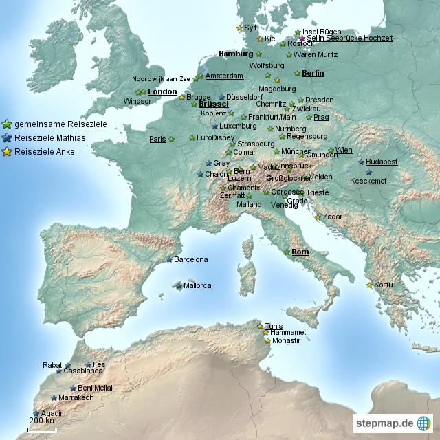 reiseziele europa nord afrika von kobold123 landkarte. Black Bedroom Furniture Sets. Home Design Ideas