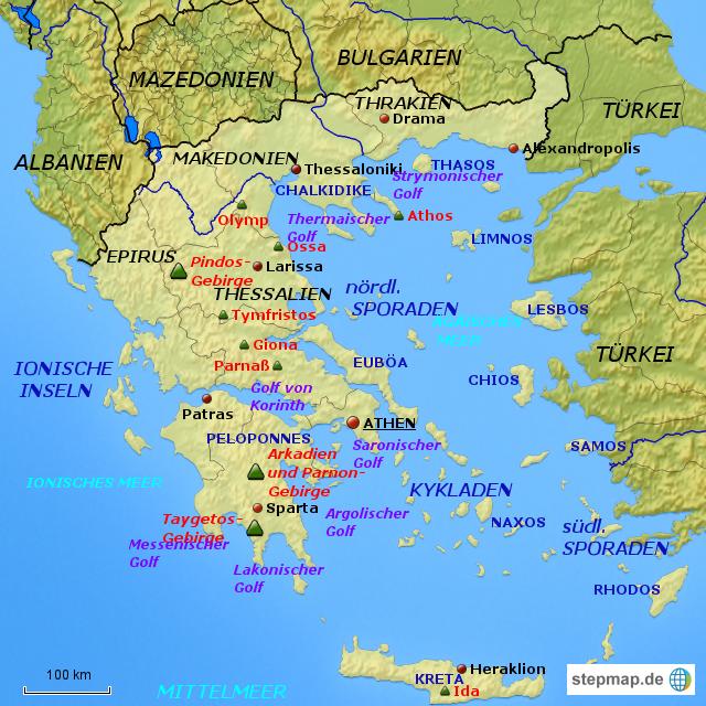 Karte von Griechenland (Griechenland) - Karte auf Welt-Atlas.de ...
