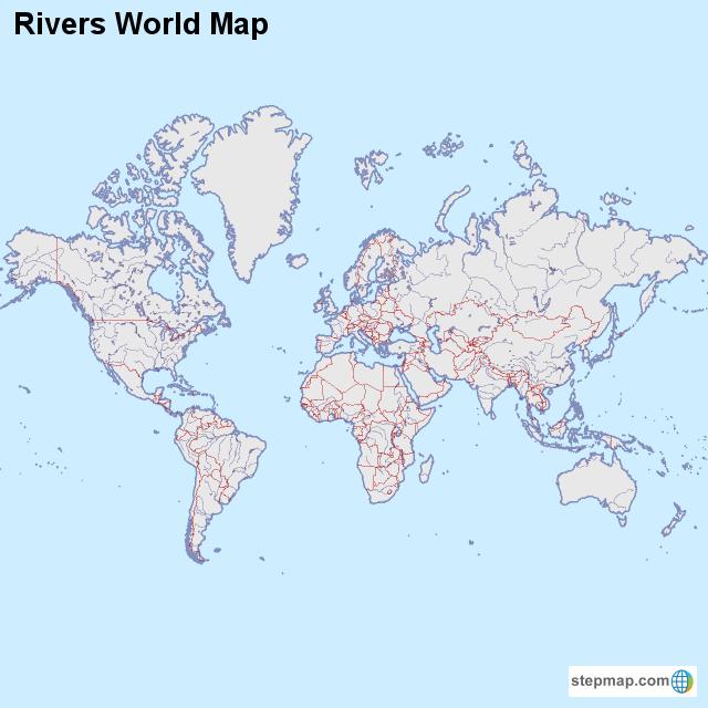 Rivers World Map von countrymap - Landkarte für die Welt